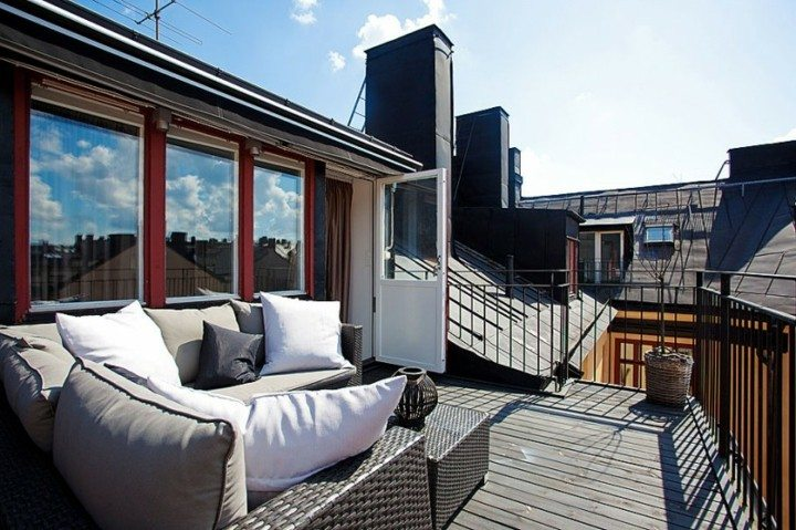 decorate small terraces rattan furniture