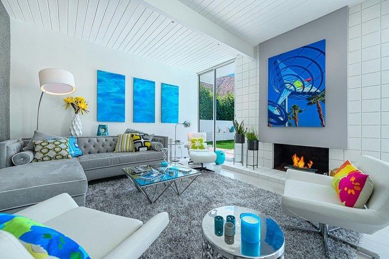 toques color azul decorar salon ideas