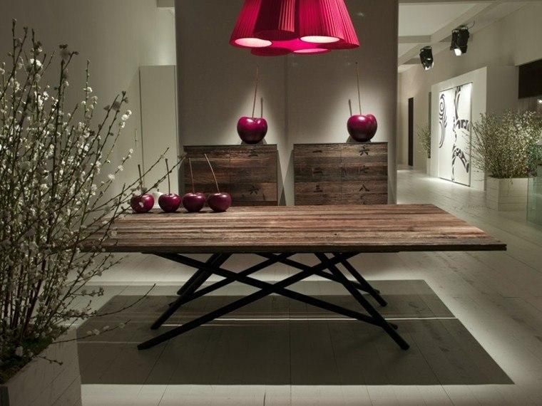 toques rojo comedor moderno mesa madera ideas