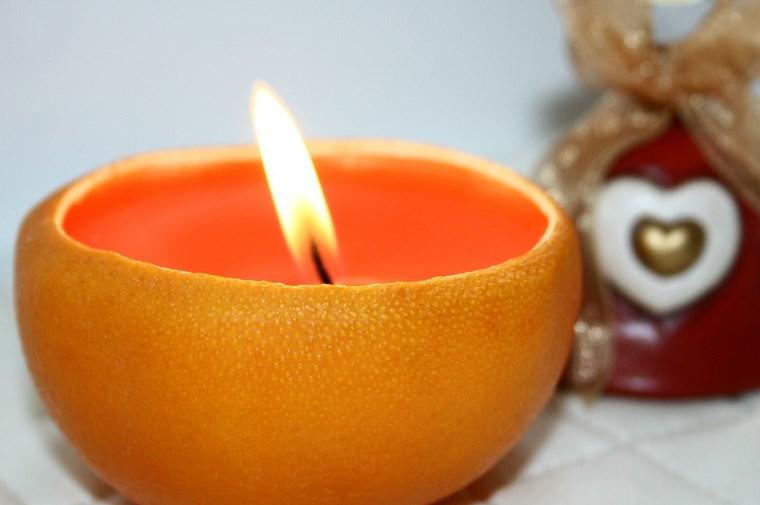 velas decoracion casa cascara naranja ideas - Velas Aromaticas