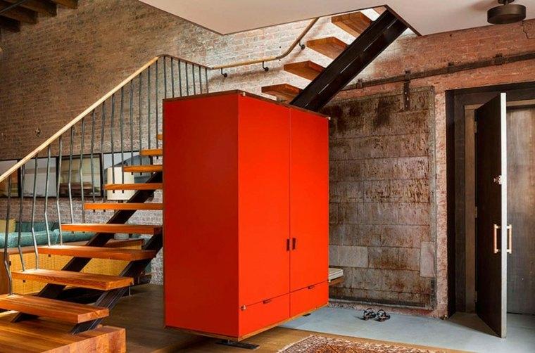 Andrew Franz Architect diseno loft armario rojo ideas