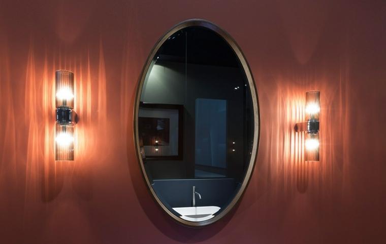 Antonio Lupi Design espejo forma ovalada pared roja ideas