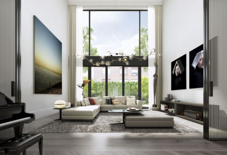 Oda New York salon techo alto cuadros llamativos ideas
