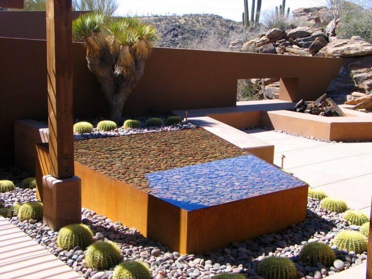 acero corten jardines cactus rocas madera agua