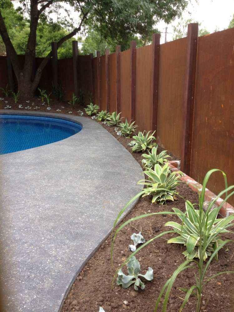 acero corten jardines imagenes detalles plantas piscina