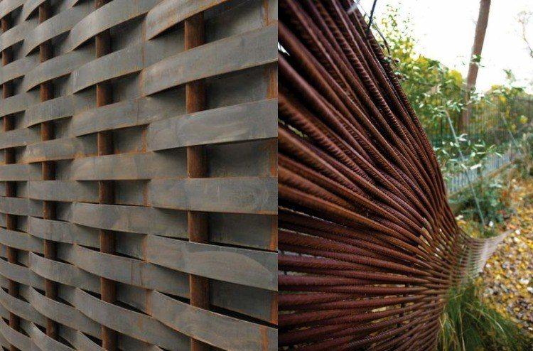acero corten jardines imagenes detalles puentes trenzado