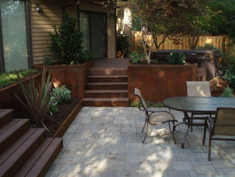 acero corten jardines imagenes escalones modernos escalera