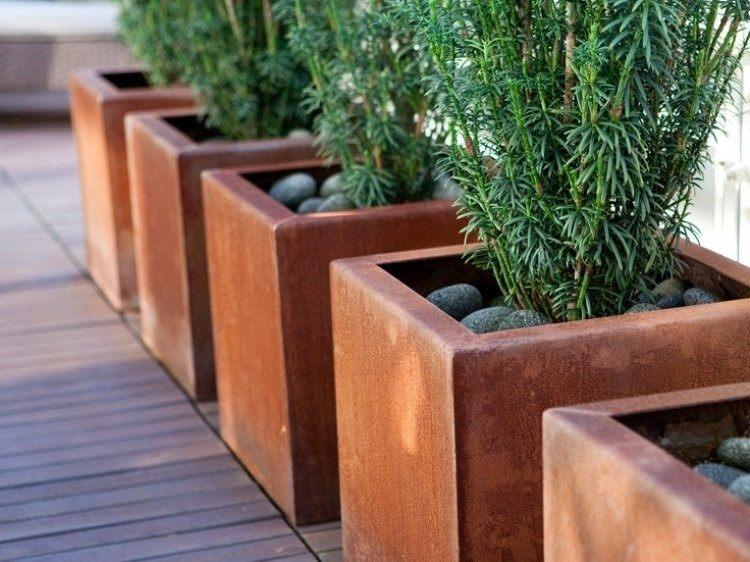 acero corten opciones jardin macetas baldos ideas