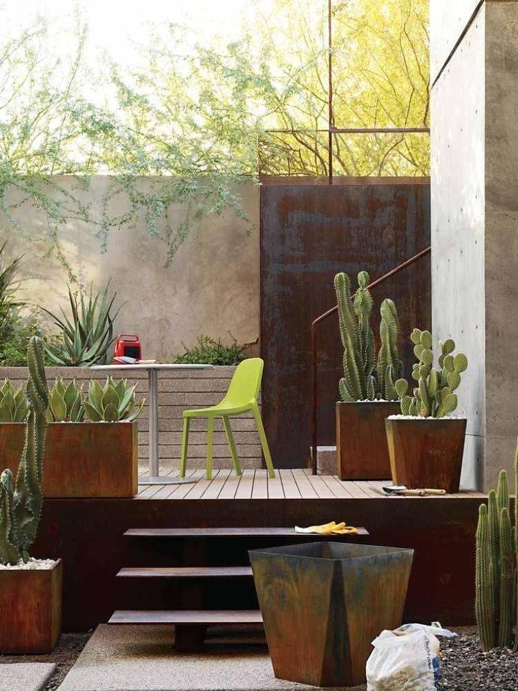 acero corten opciones jardin macetas pared ideas