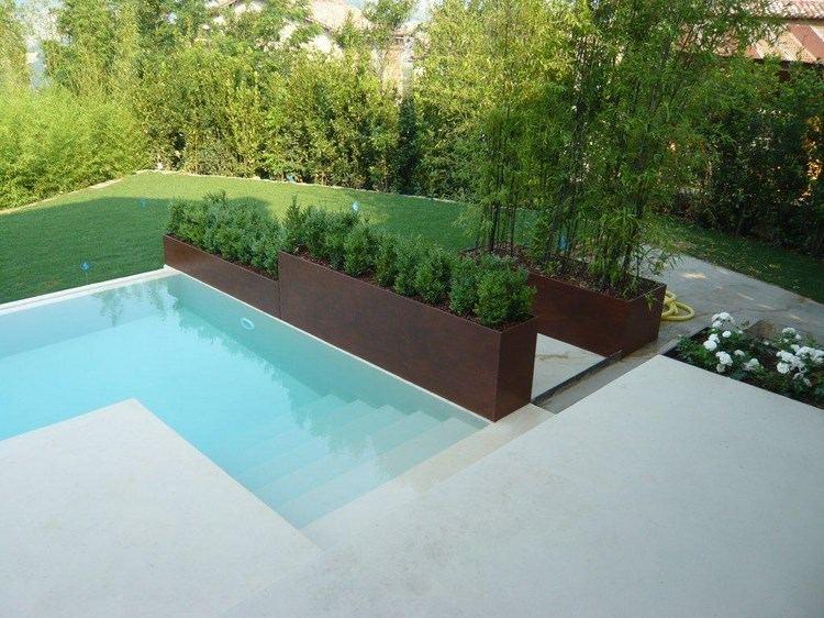 acero opciones jardin piscina macetas ideas