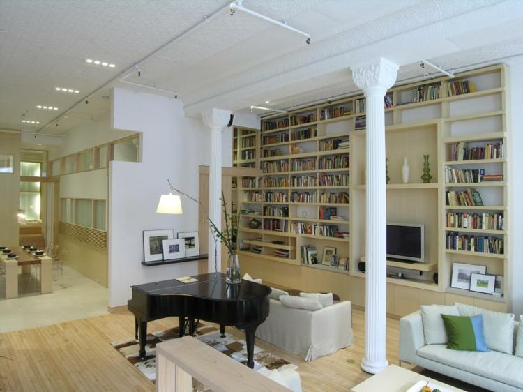 amplia decorativa columnas blanco piano