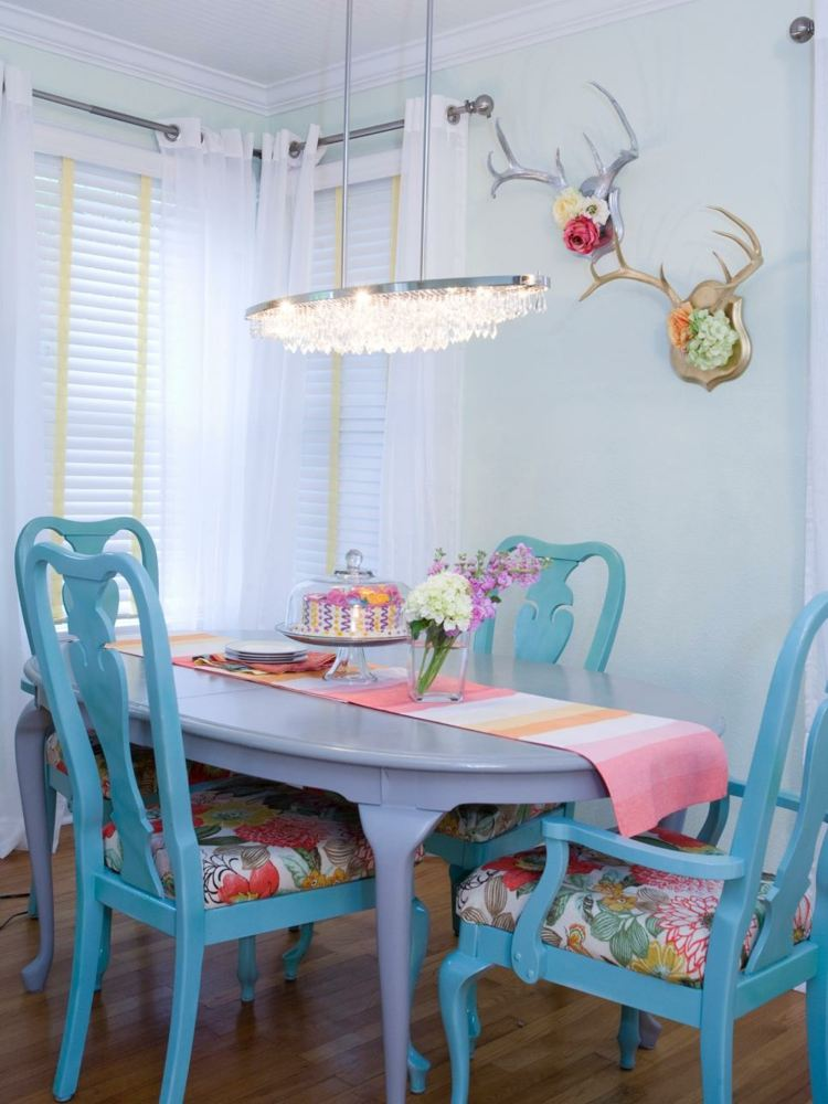 amplia ideas salas comidas azules rosa
