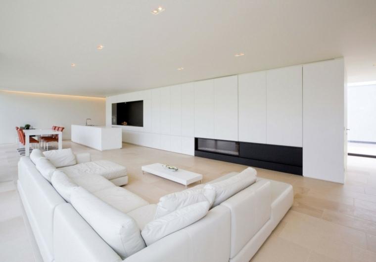 Decoracion salon moderno 50 dise os en blanco y madera for Salon comedor minimalista