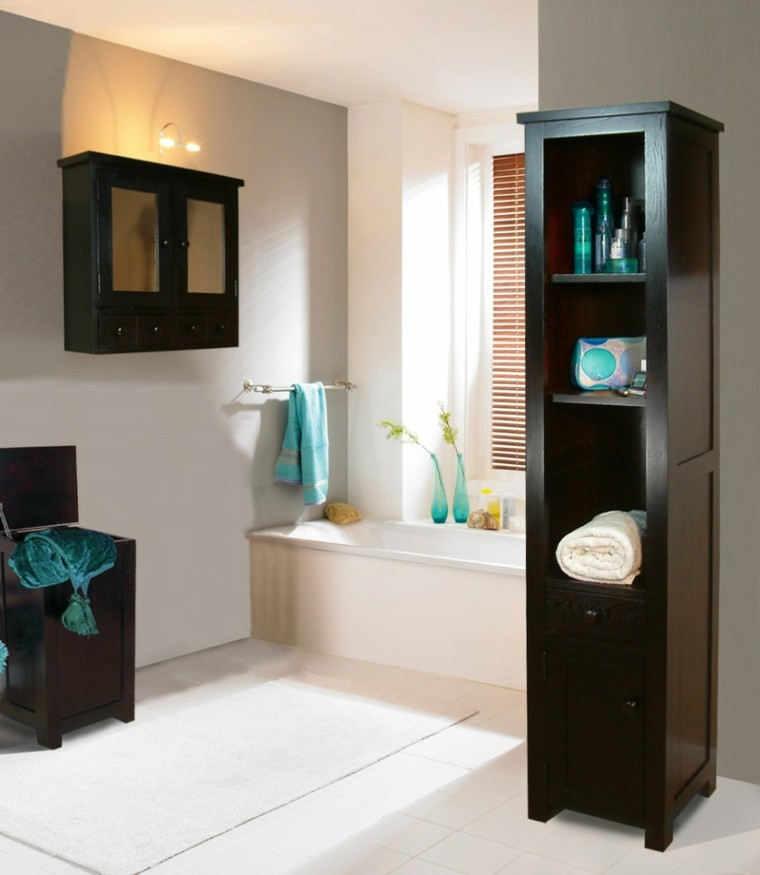 Armarios de ba o y muebles lavabo de madera 50 ideas - How to decorate a bathroom cheap ...