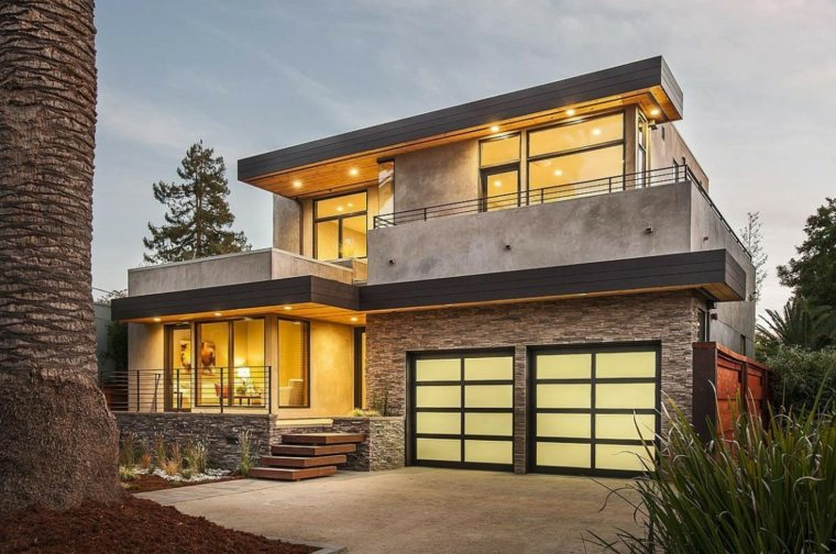 arquitectura moderna fachada casa piedra
