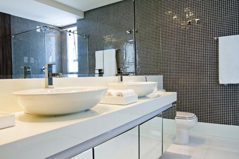Azulejos Para Baños Gresite:Cuartos de baño de estilo minimalista – 50 diseños oscuros -