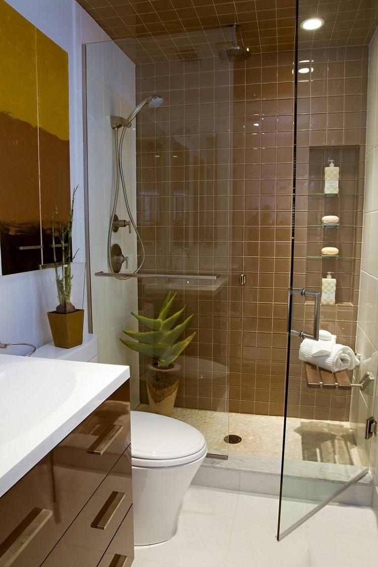baño pequeños azulejos marrones