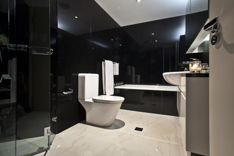 Baño Minimalista Gris:Cuartos de baño de estilo minimalista – 50 diseños oscuros -
