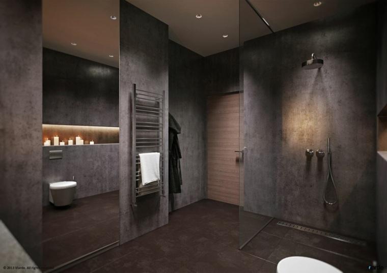 Cuartos de baño de estilo minimalista   50 diseños oscuros