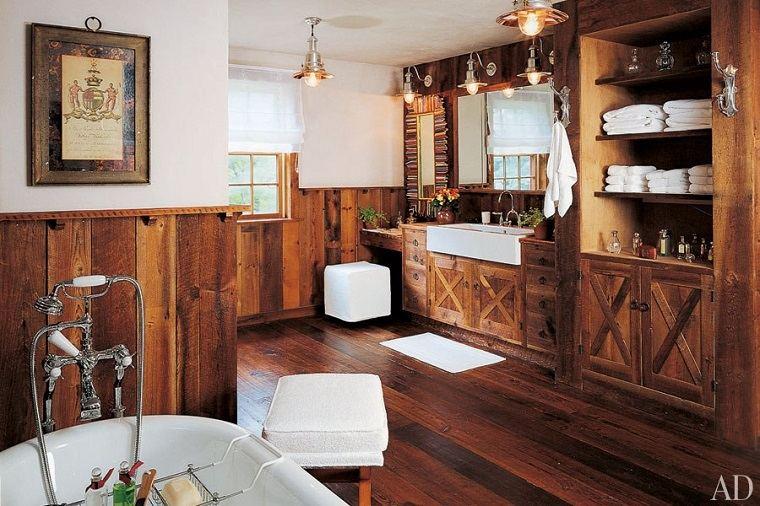 Muebles de ba o modernos de estilo r stico 49 modelos for Lavamanos rusticos de madera