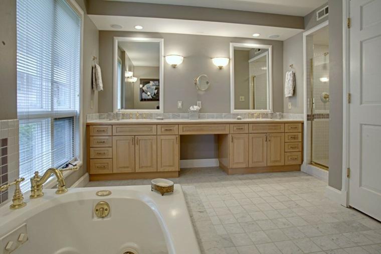 baño estilo lujoso mueble madera