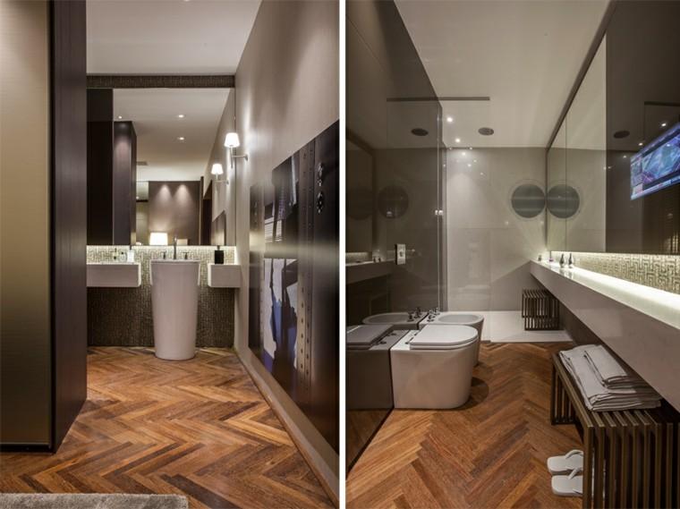 Cuartos de ba o de estilo minimalista 50 dise os oscuros - Banos con suelo de madera ...