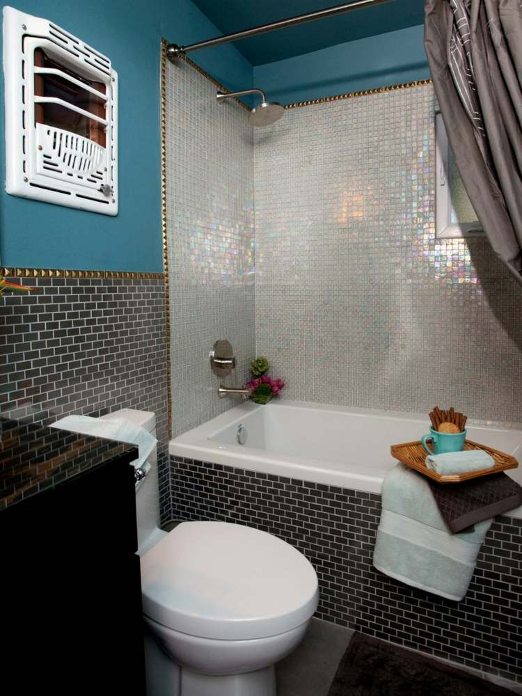 baños con bañeras ideas azules pequeño