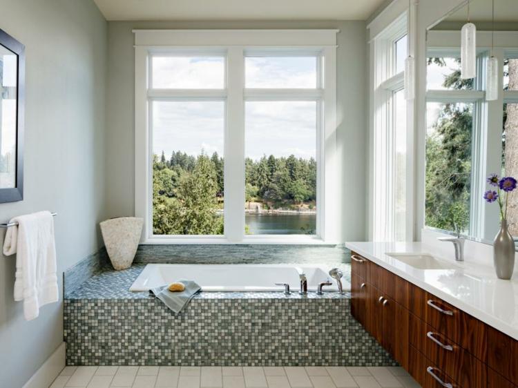 baños con bañeras ideas diseños flores blanco