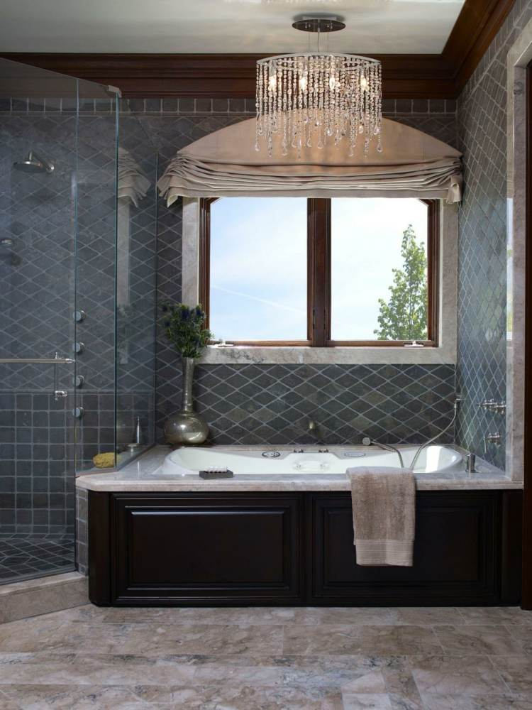 baños con bañeras ideas diseños tradicional lampara