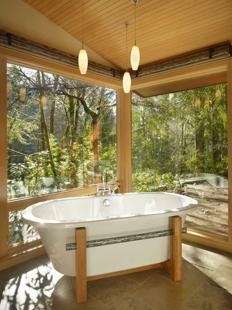 baños con bañera ideas diseños metales
