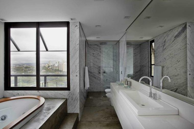 Azulejos Para Baño Minimalista:Cuartos de baño minimalistas de tonalidades oscuras