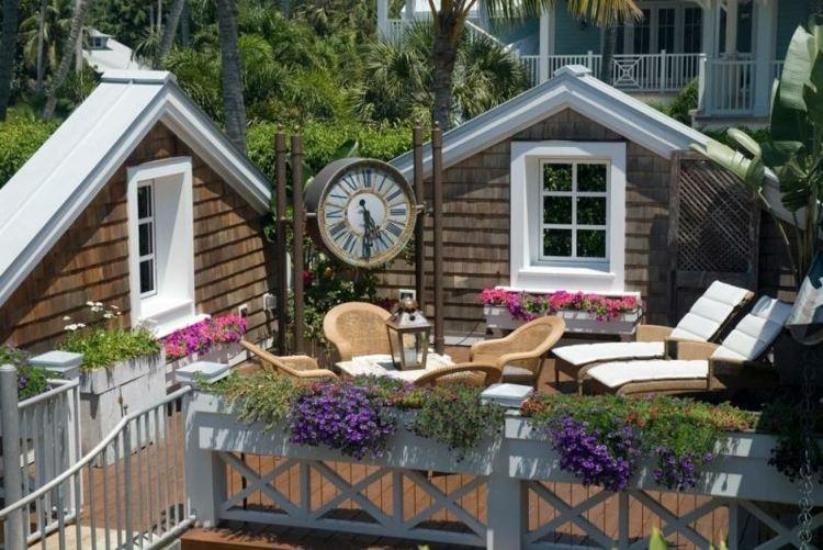 balcon jardines decorado fresco dias colores reloj
