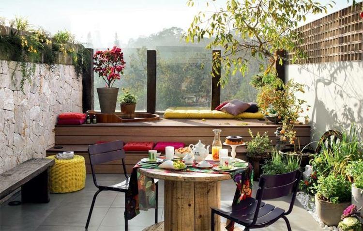 balcon jardines decorado rocas ideas amarillo