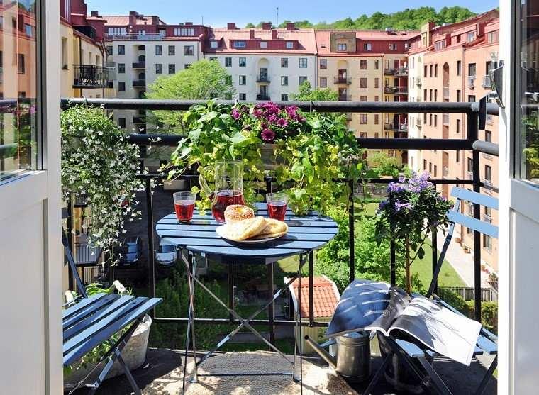 balcón pequeño muebles terraza