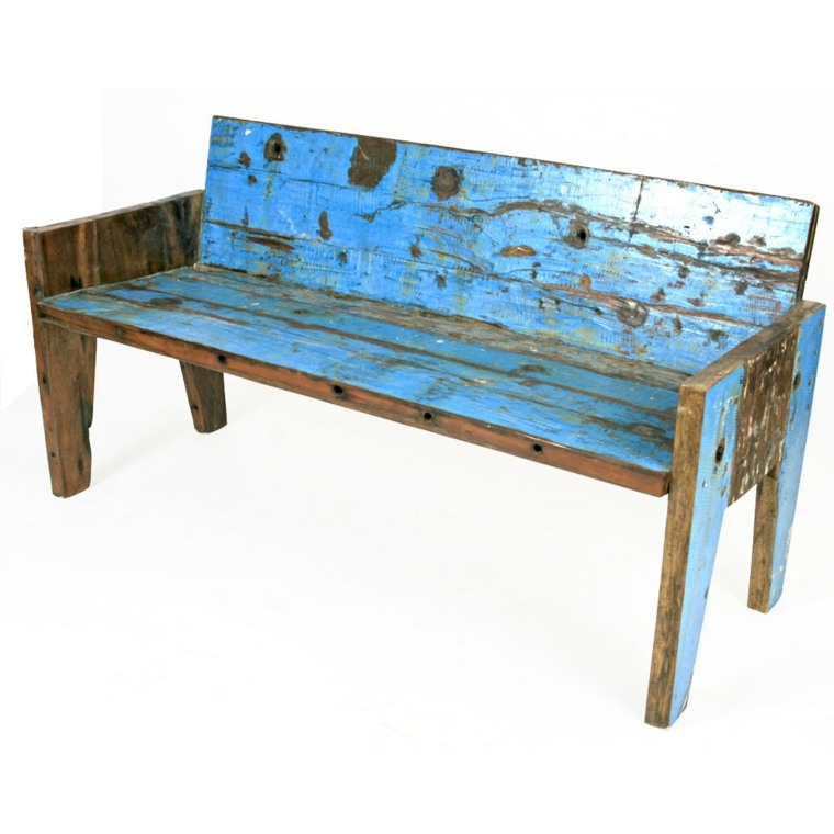 banco madera color azul
