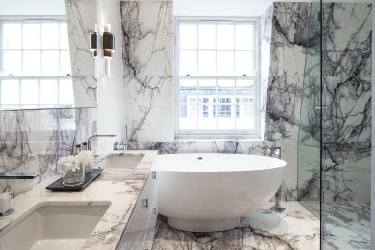 bano banera redonda paredes marmol lujo ideas