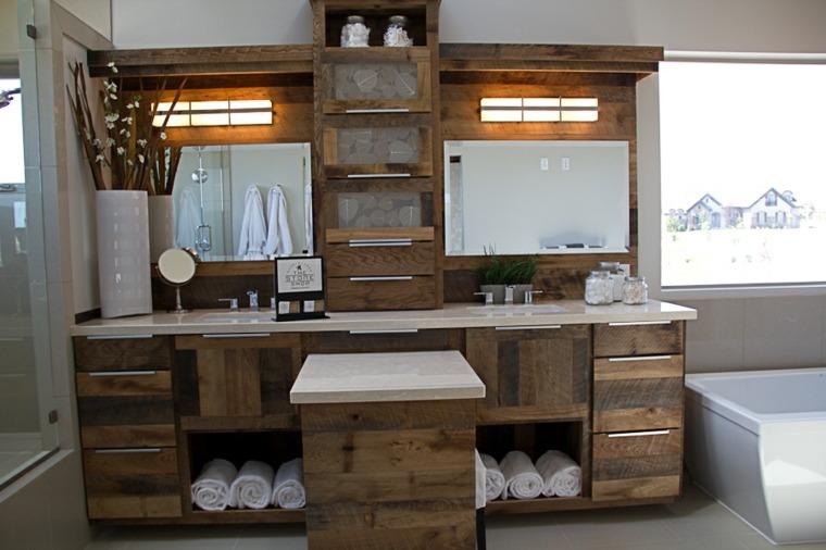bano rustico dos lavabos madera epejos ideas