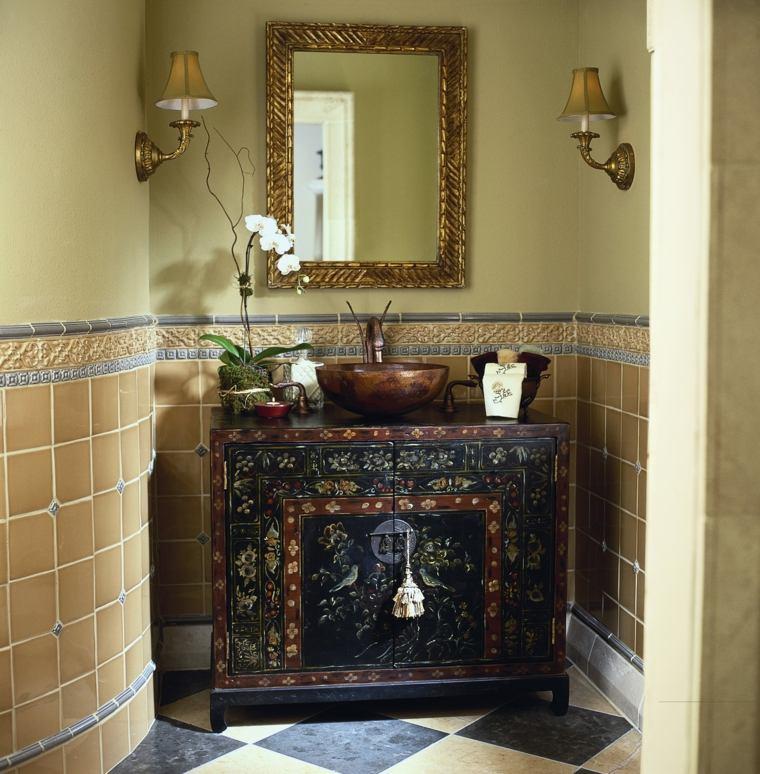 bano rustico espejo lavabo acabados colores ideas