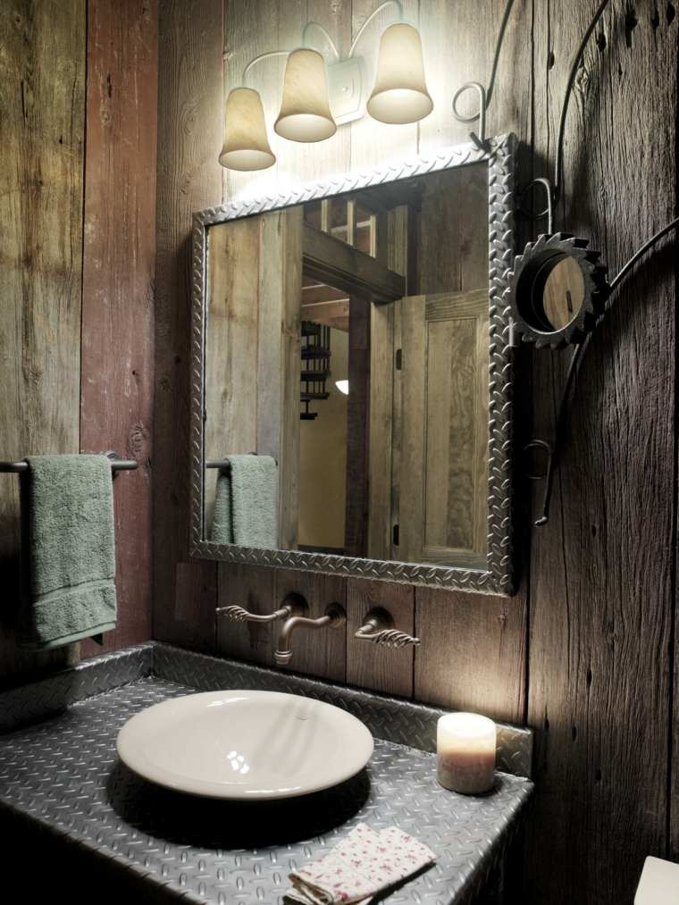bano rustico espejo lavabo metal ideas