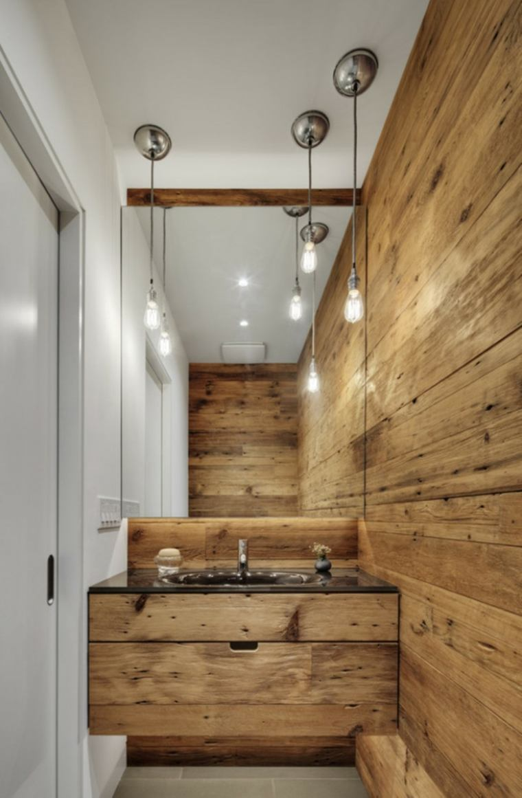 bano rustico pared lavabo madera ideas
