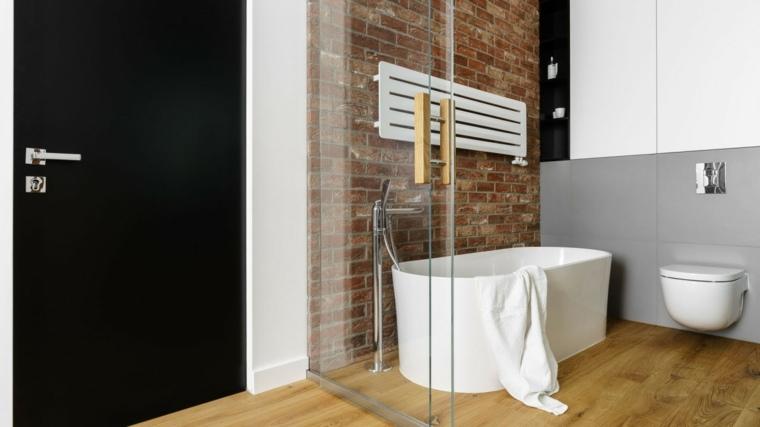 baños modernos fotos pared ladrillo ideas