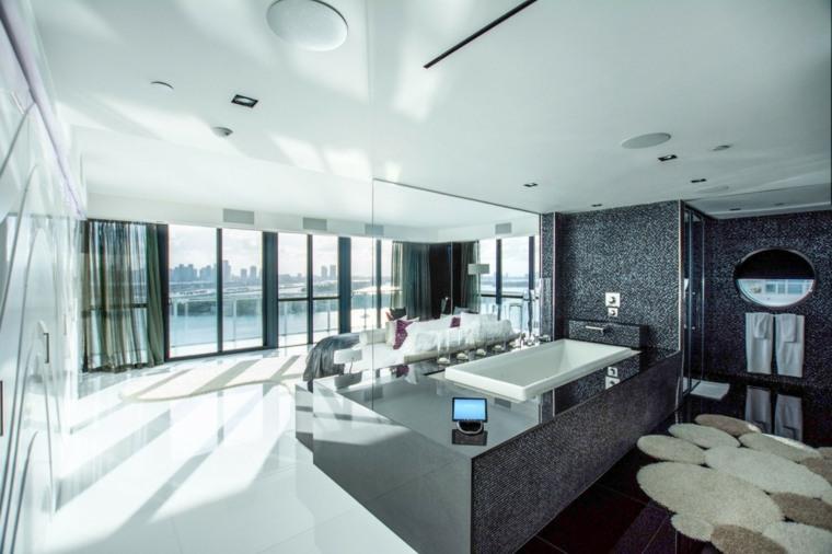 baños modernos fotos pared mosaico negro abierto dormitorio ideas