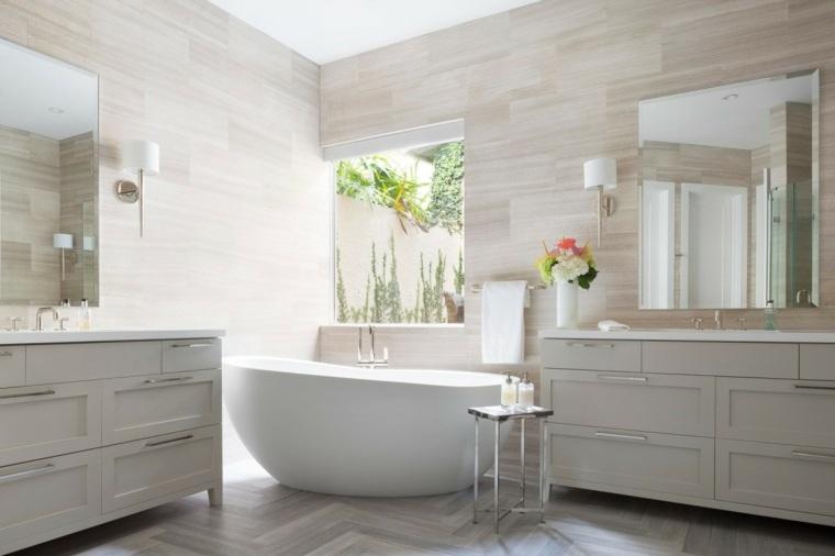 baños modernos fotos paredes madera natural ideas