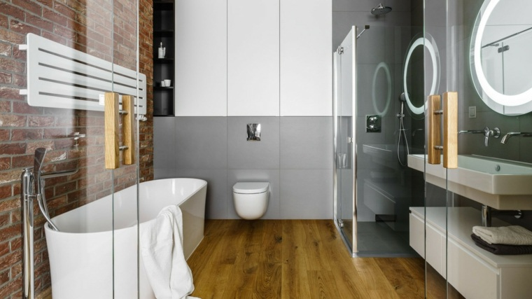 baños modernos fotos puertas cristal banera ideas