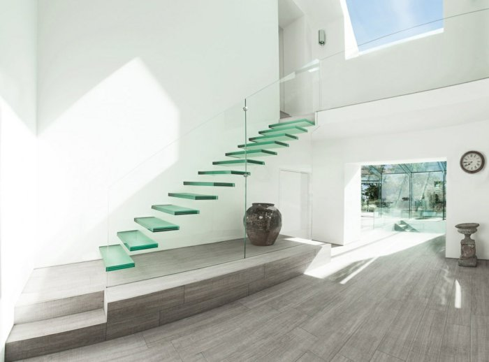 barandillas vidrio ideas interiores hogares luces - Barandillas Escaleras Interiores