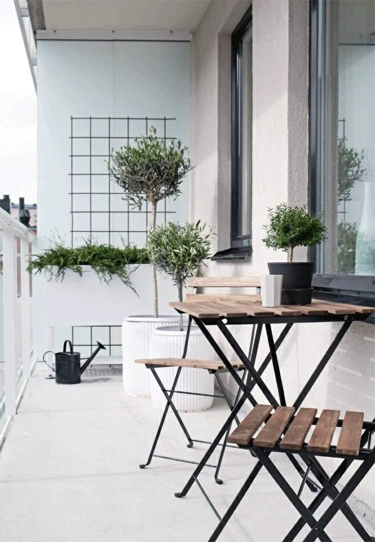 belleza balcon pequeno arboles macetas ideas