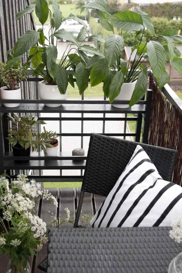 belleza balcon pequeno macetas muebles negros ideas
