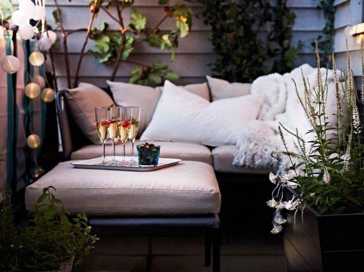 belleza balcon pequeno muebles negros ideas
