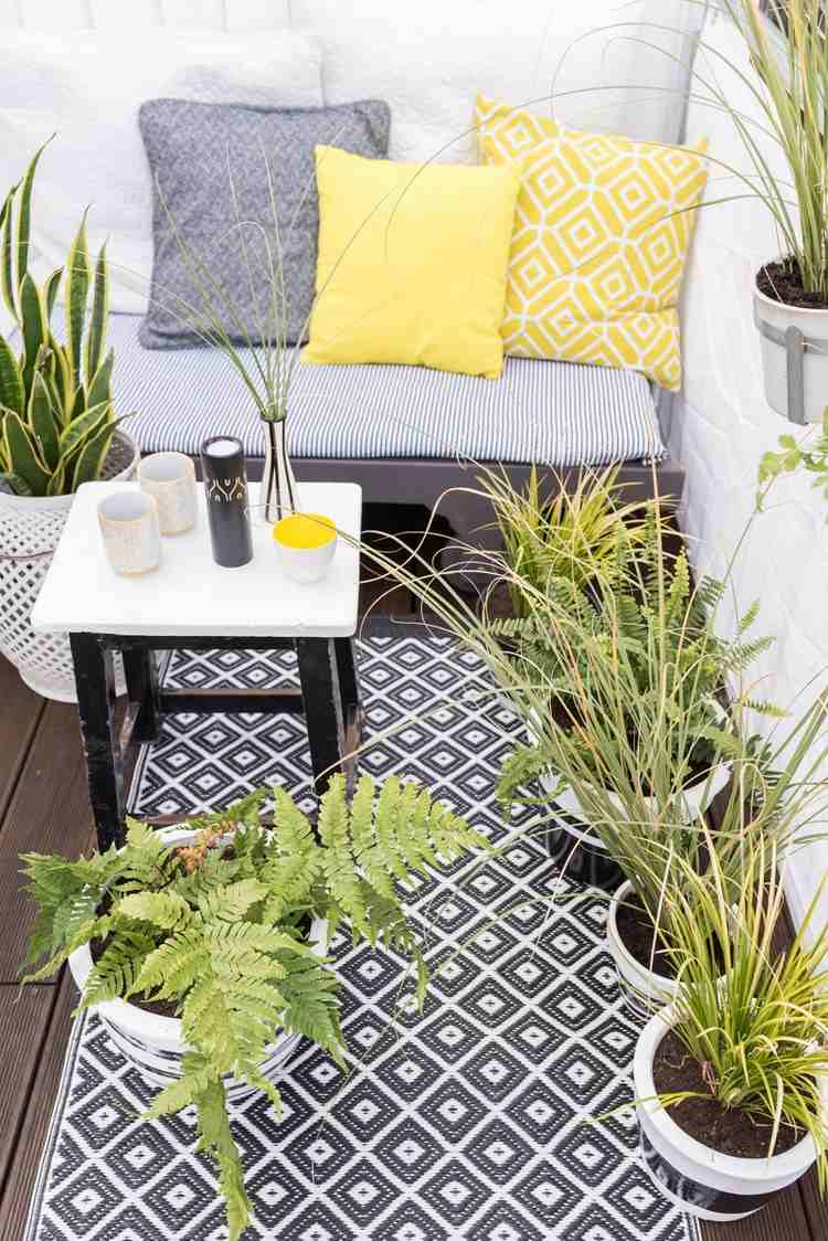 belleza balcon pequeno plantas alfombra ideas