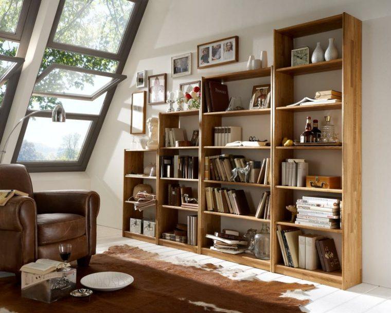 Bibliotecas grandes para salas de estar modernas - Biblioteca madera blanca ...